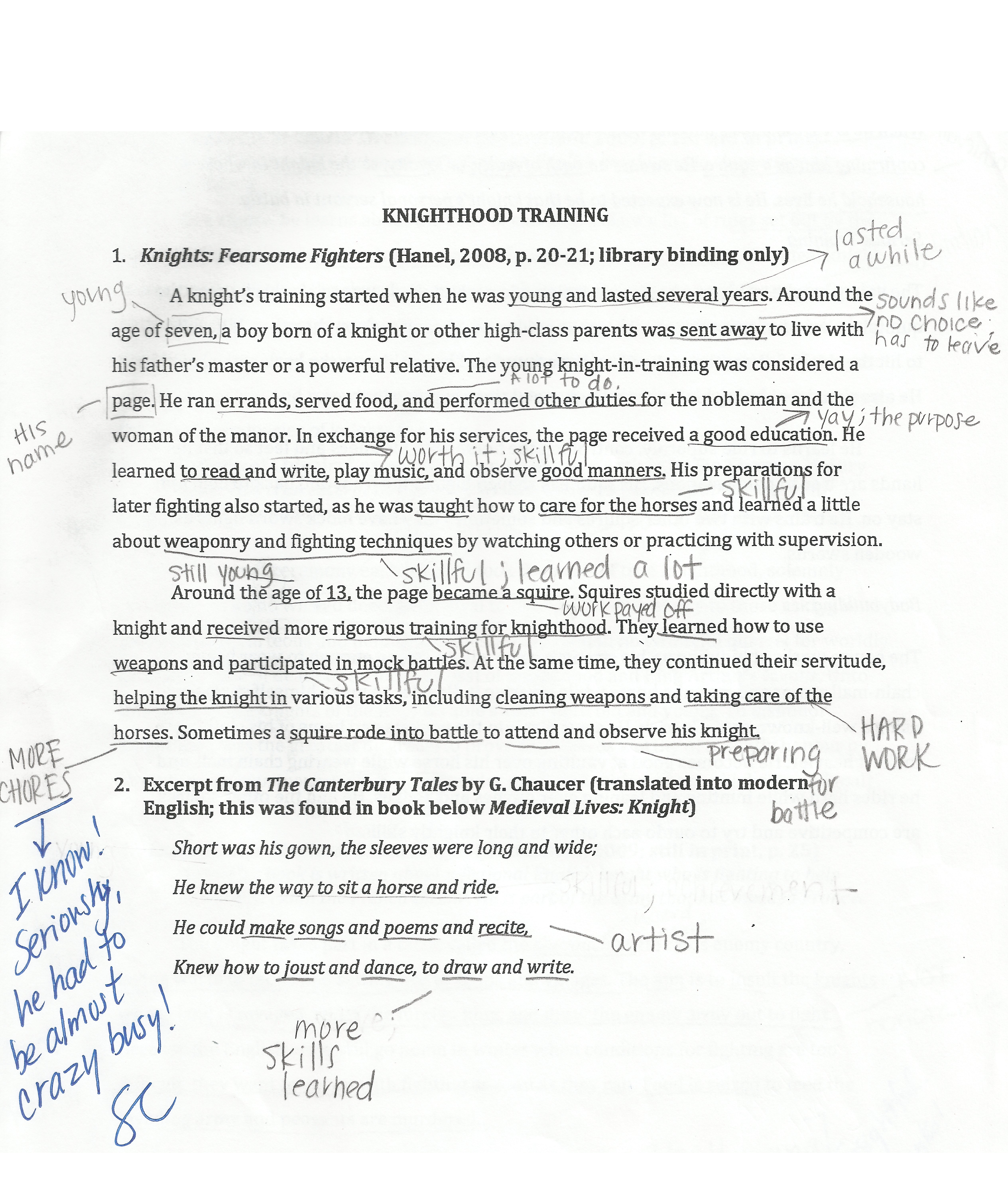 Student 1 annotated notes